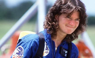 Former NASA astronaut Sally Ride died, Monday, July 23, 2012, after her battle with pancreatic cancer. She was 61. In this 1983 file photo, Ride participated in a fire training exercise before her first space shuttle launch. (Red Huber/Orlando Sentinel/MCT)